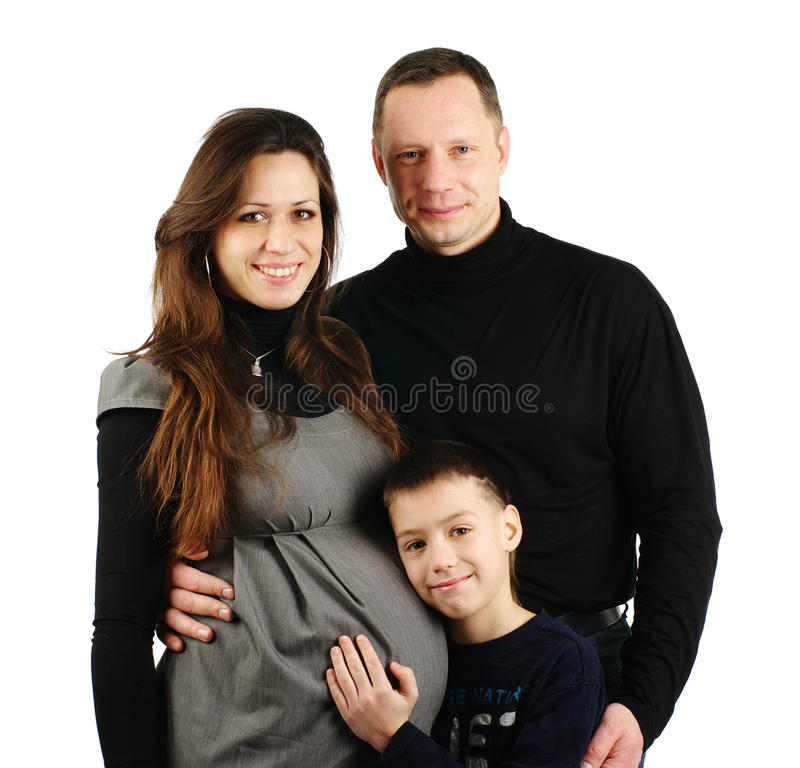 Happy family hugging isolated on royalty free stock photography