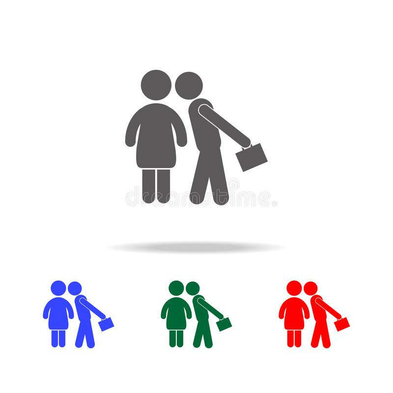Happy Family Husband and Wife Busy Lifestyle Daily Routine icon. Elements of family multi colored icons. Premium quality graphic d. Esign icon on white royalty free illustration
