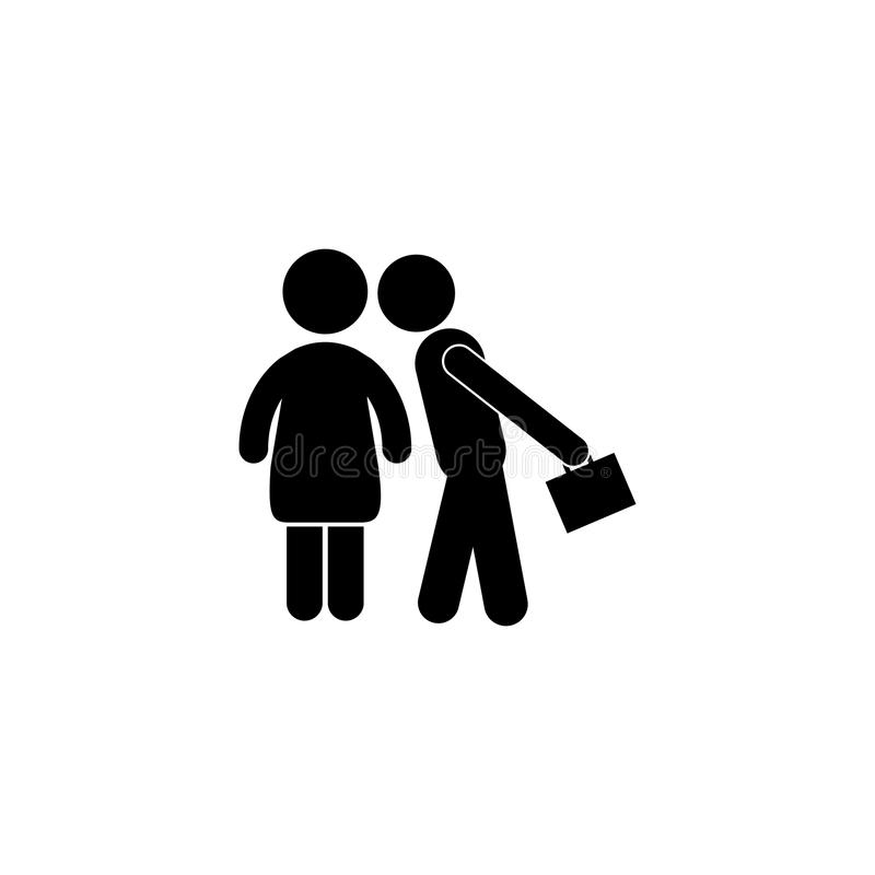 Happy Family Husband and Wife Busy Lifestyle Daily Routine icon. Simple black family icon. Can be used as web element, family design icon on white background royalty free illustration