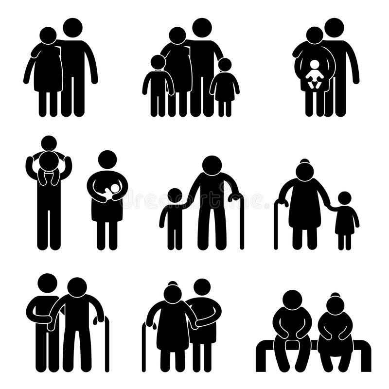 Happy Family Icon Pictogram royalty free illustration