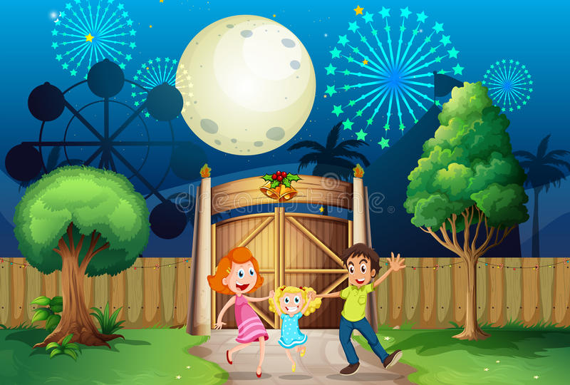 A happy family inside the yard stock illustration