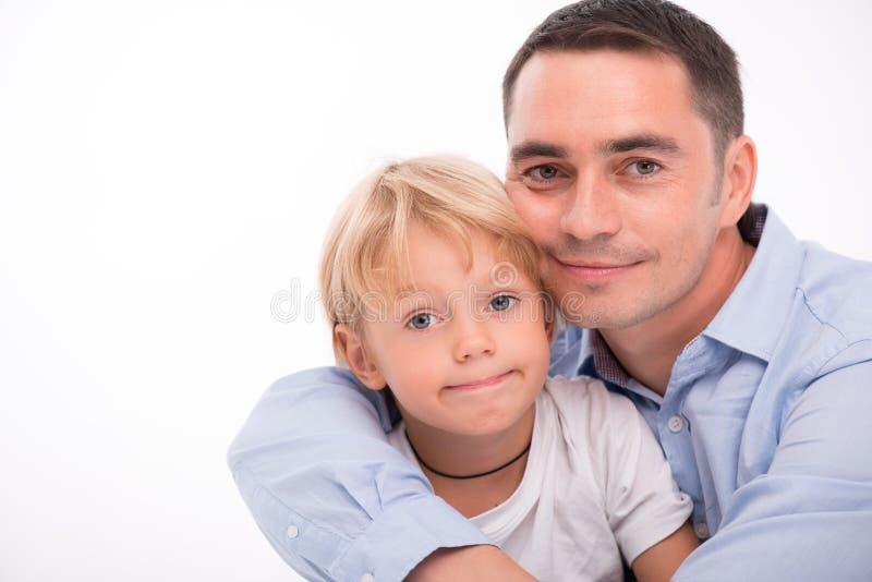 Happy family isolated on white background stock photos