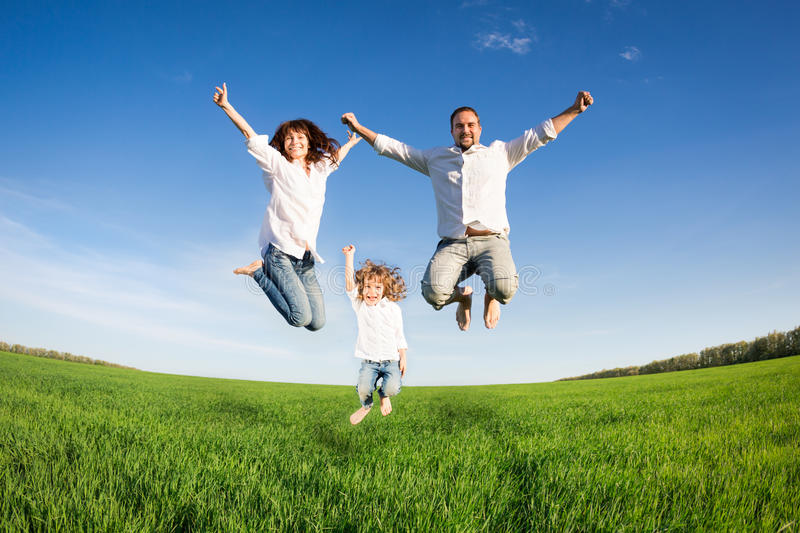 Download Happy family jumping stock image. Image of green, baby - 31423723
