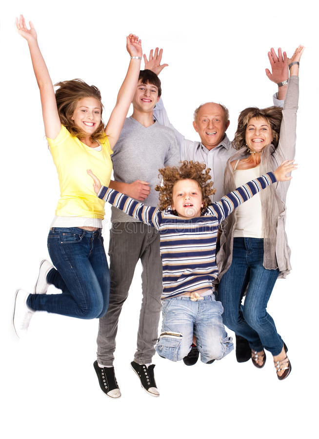Free Happy Family Jumping High Royalty Free Stock Photo - 20039285