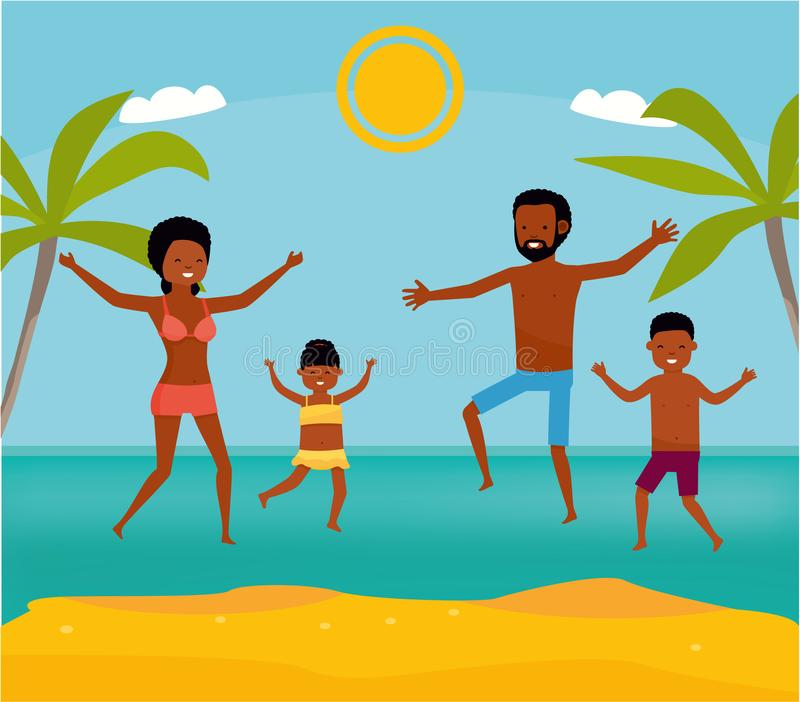 Happy family jumping together on the beach. Cartoon vector illustration. Sea tour. African american family. Flat cartoon vector illustration