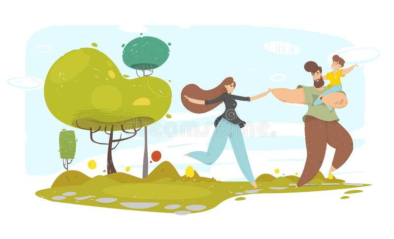 Happy Family with Kid Running along Garden Path. Happy Craft Family with Kid on Hand Running along Garden Path. Eco Vector Illustration. Ecology and Health stock illustration