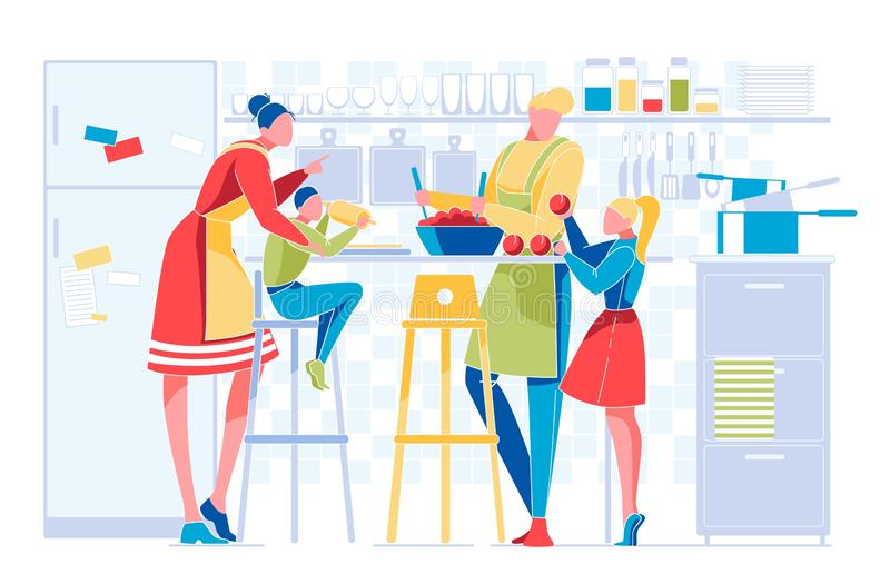 Happy Family with Kids Everyday Routine on Kitchen vector illustration