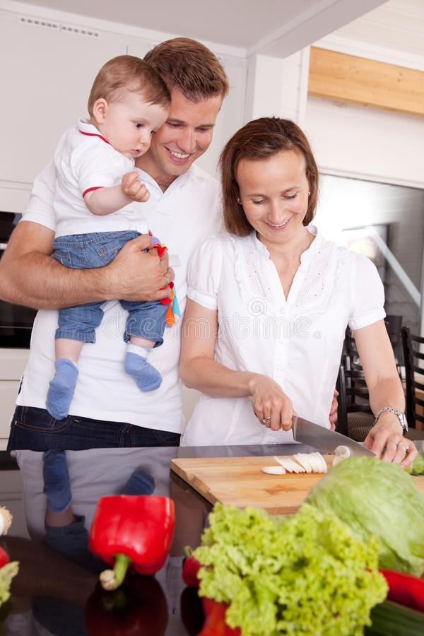 Happy Family in Kitchen royalty free stock image