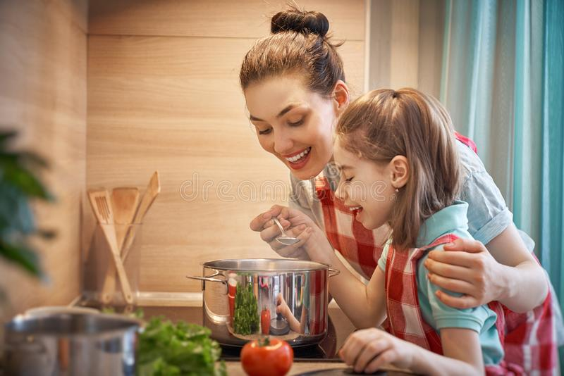 Happy family in the kitchen. royalty free stock photos
