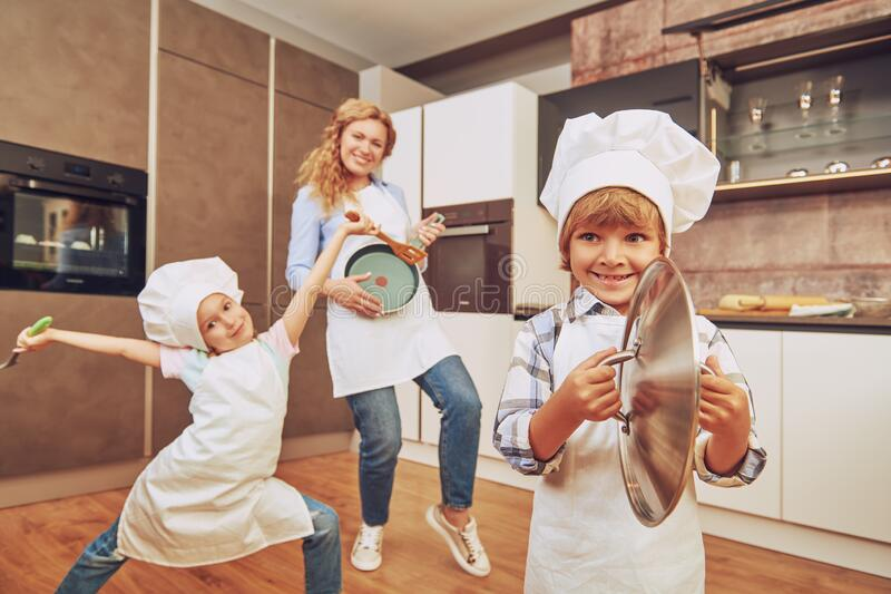 Dancing on a kitchen royalty free stock photo