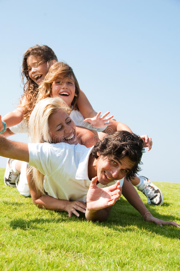 Happy family lie royalty free stock image