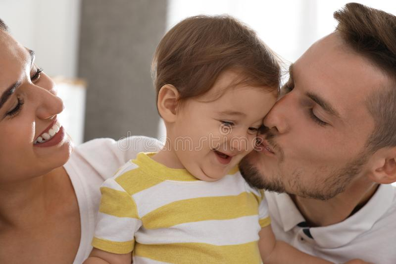 Happy family with  little baby at home royalty free stock images