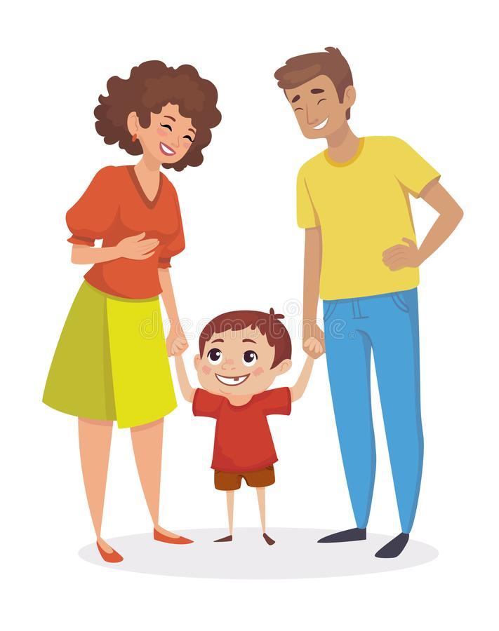 Happy family. Little boy holding hands with parents. People are laughing. Vector illustration. stock illustration