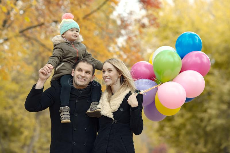 Happy family with little child stock photo