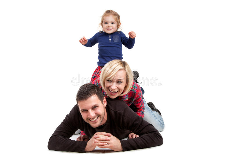 Happy family with little daughter royalty free stock photos