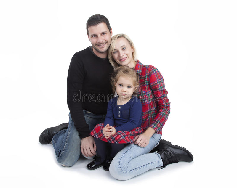 Happy family with little daughter stock photo