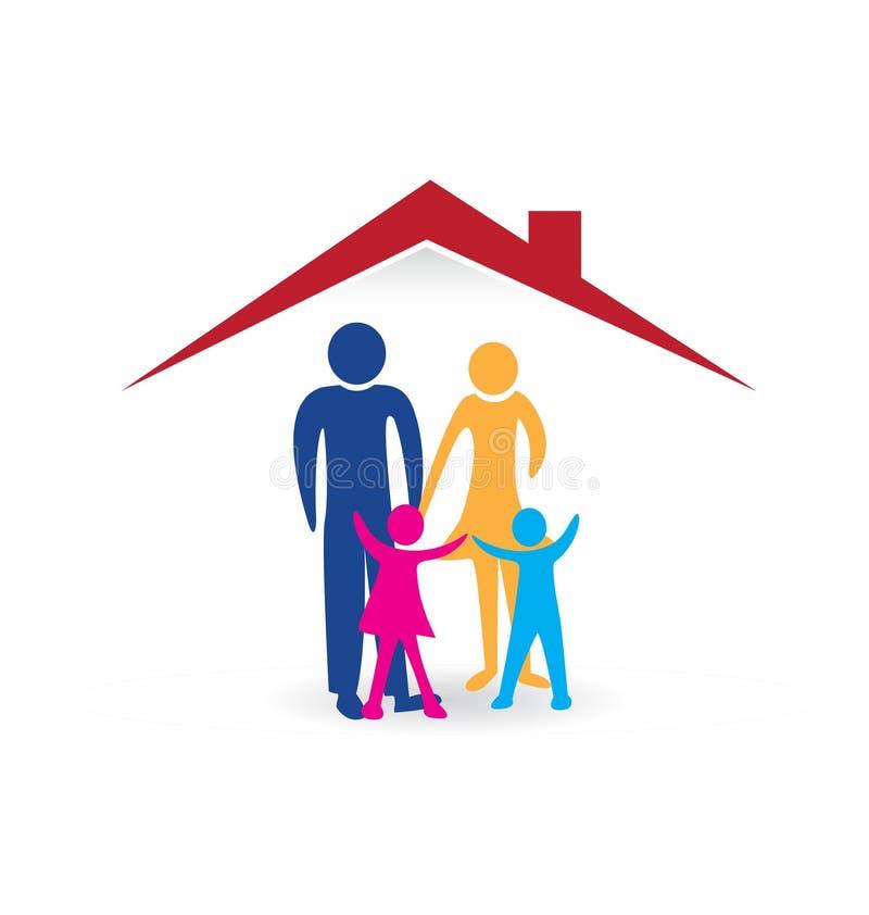 Happy family logo. Happy family with new house logo vector