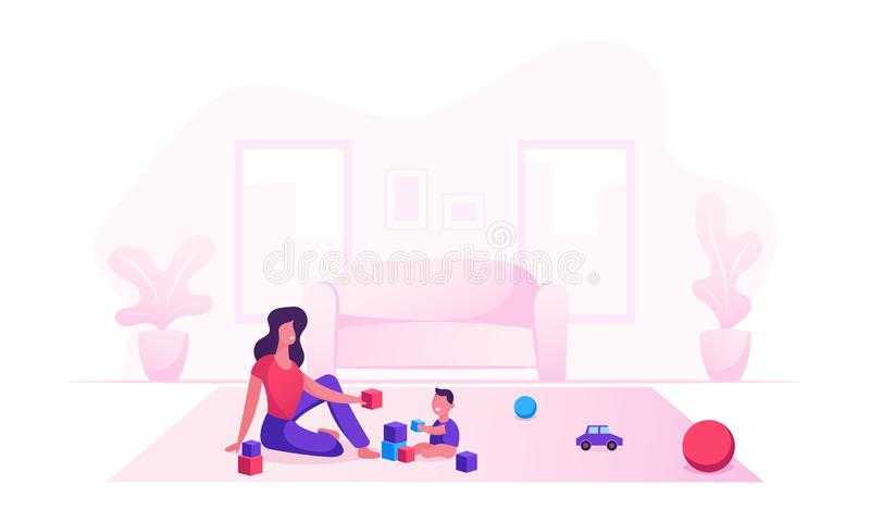 Happy Family of Loving Mom and Cheerful Kid Having Leisure Time. Mother and Little Son Playing Toys Sitting on Floor vector illustration