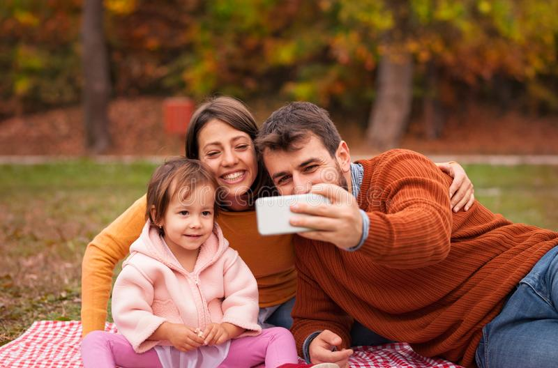 Happy  family making selfie royalty free stock image