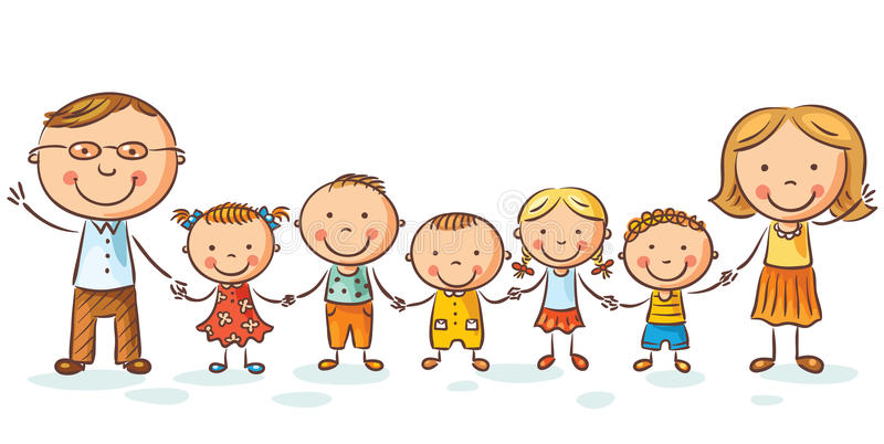 Happy family with many children royalty free illustration