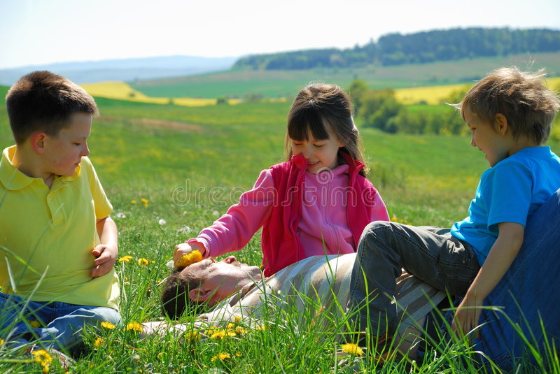 Download Happy family in meadow stock photo. Image of happy, female - 2418008