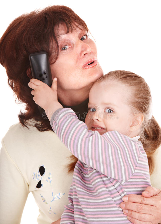 Happy family with mobile phone. stock photo
