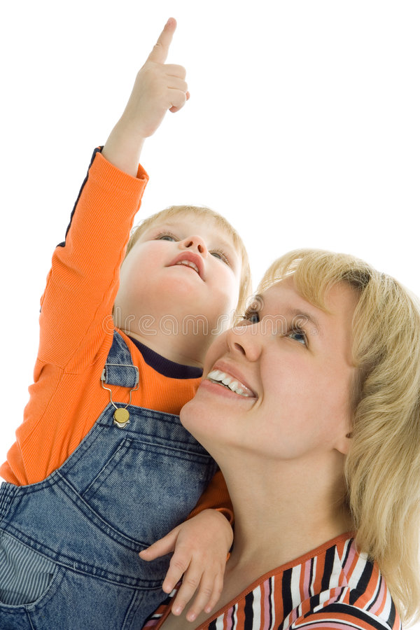 Happy family mother and baby show finger up. Over white background stock photography