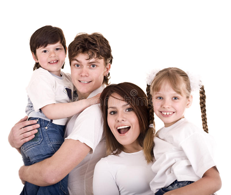 Download Happy Family Mother, Father, Daughter And Son. Stock Photo - Image of girl, bedroom: 9406586