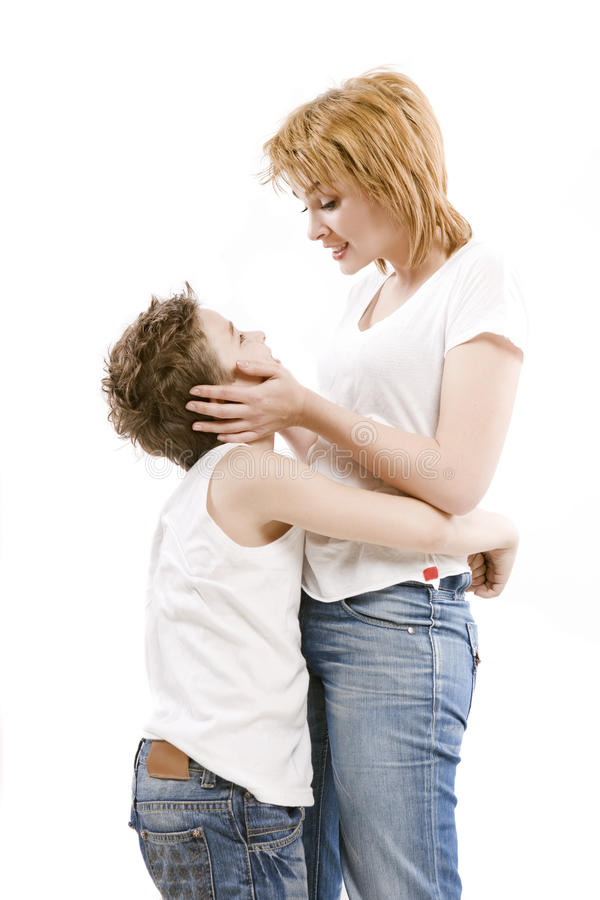 Download Happy Family Mother Hugging Her Son Stock Image - Image: 32903437