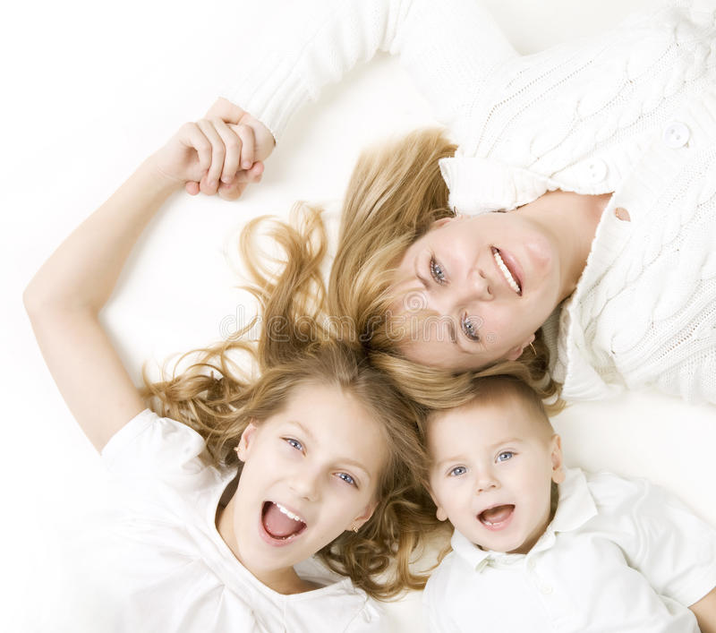 Happy Family - Mother with Kids stock images
