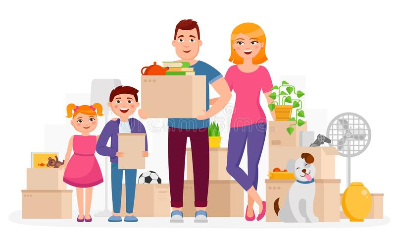 Happy family move into new home place vector flat illustration. Mother, father and children keeping cardboard boxes with stock illustration