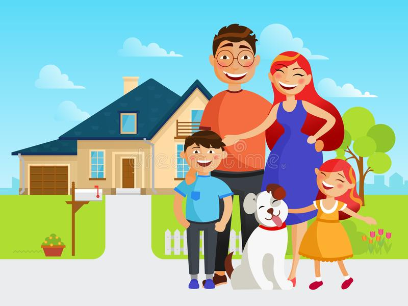 Happy family move into a new house flat vector illustration in cartoon design. Mother, father, sister, brother and their stock illustration