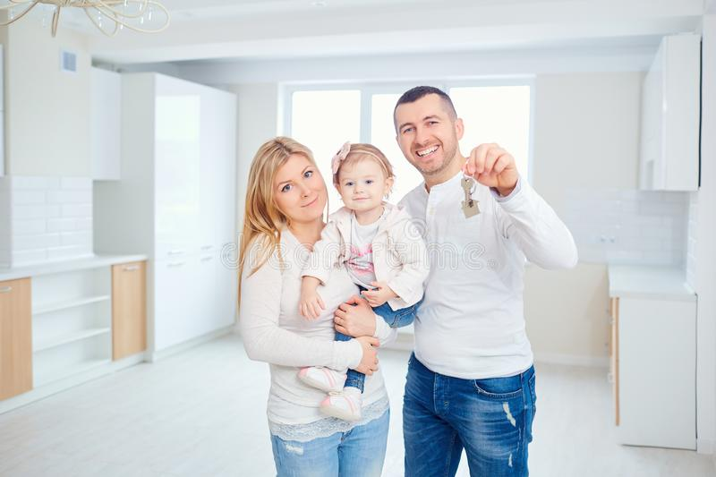 A happy family moves to a new apartment. royalty free stock photo