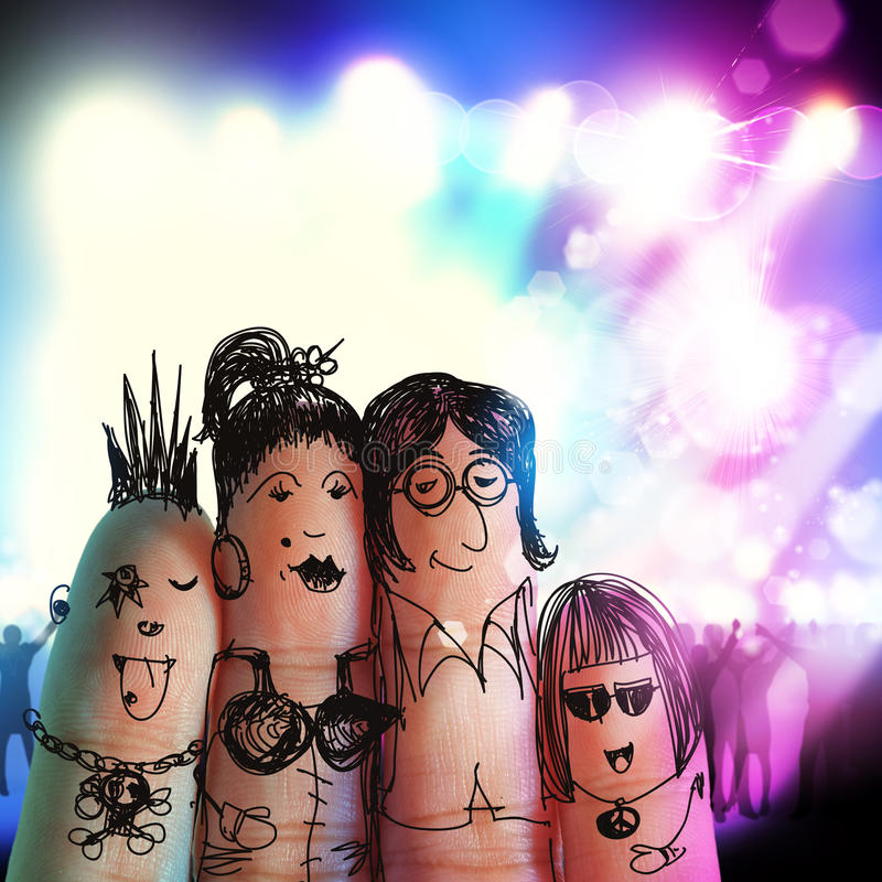 Happy family at music concert vector illustration