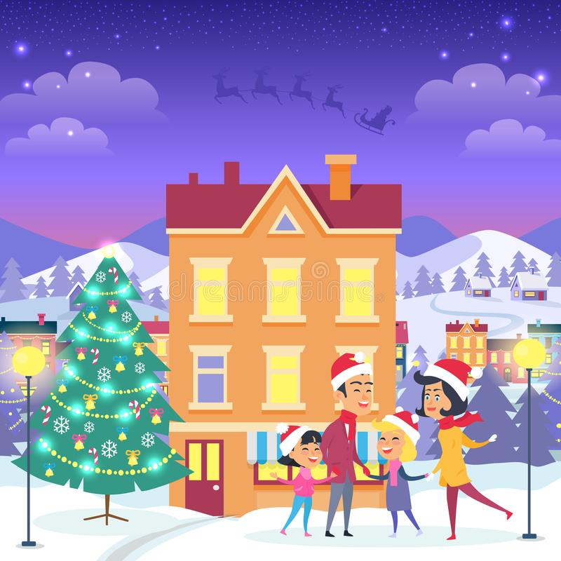 Happy Family near Urban House and Christmas Tree. Happy family near orange house and decorated Christmas tree. Vector illustration of people in Santa Claus red vector illustration