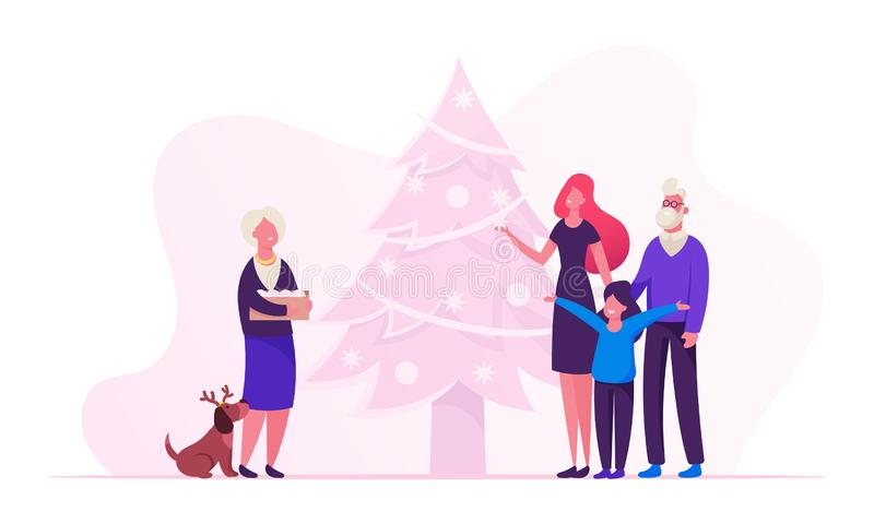 Happy Family New Year and Christmas Preparation. Young Mother with Daughter Senior Grandparents and Funny Dog. Stand at Decorated Fir Tree, Granny Hold Box with royalty free illustration