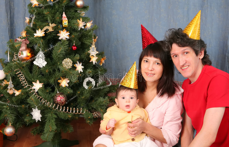 Download Happy Family On New Year Holiday Stock Photo - Image: 7688708