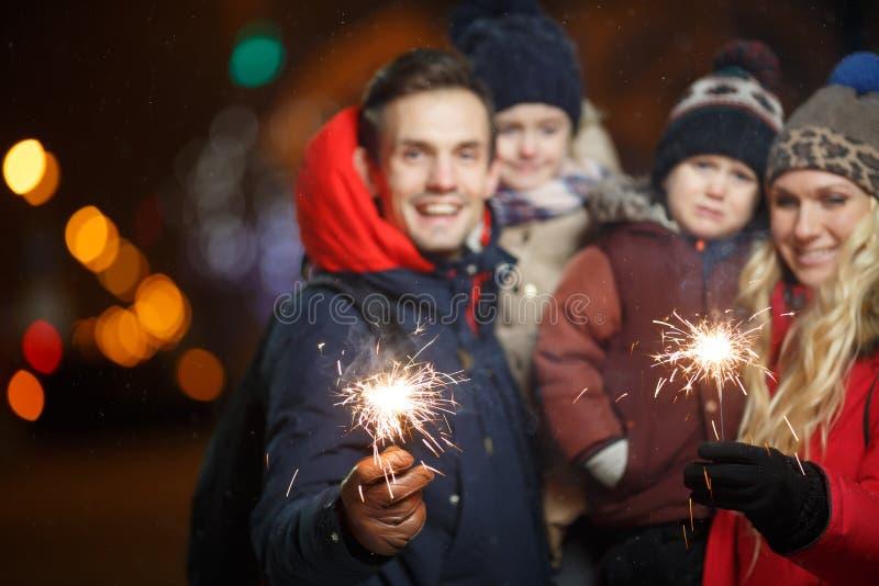 Happy family in new year royalty free stock photo