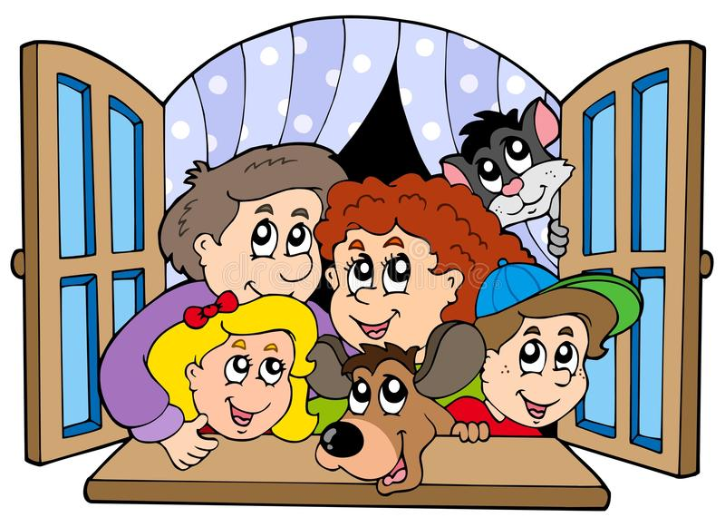 Happy family in open window stock illustration