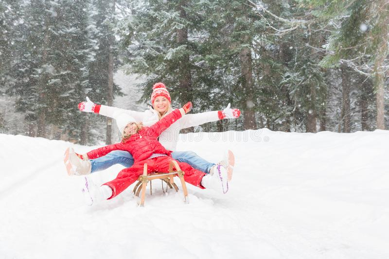 Happy family outdoor in winter royalty free stock images
