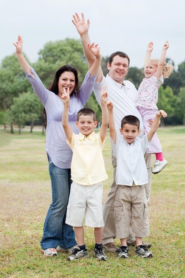 Happy family on outdoors enjoying stock images