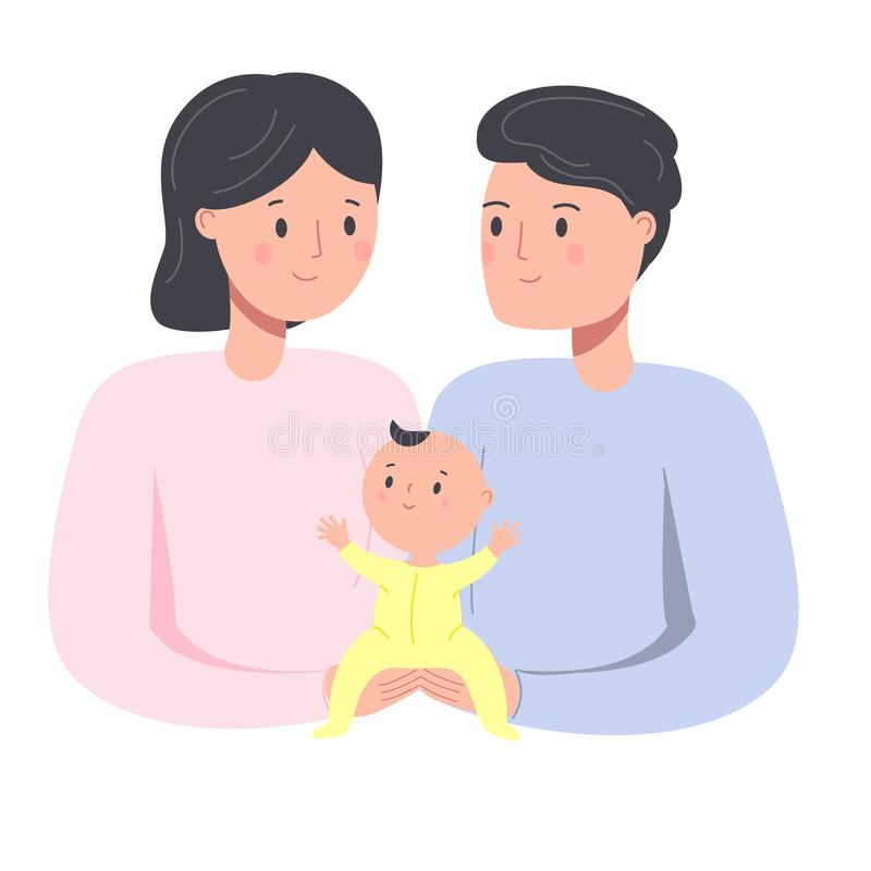Happy family. Parents with baby. Man and woman nurse toddler. Young father and mother with newborn child royalty free illustration
