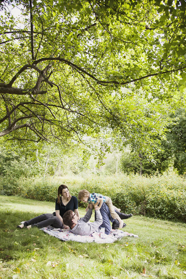 Happy family. Happy parents with a boy playing on a blanket outside stock image