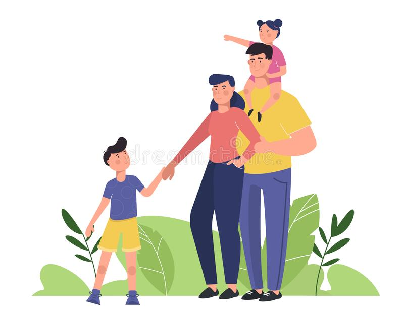 Happy family with parents and children. Young family: toddler girl and small boy, mother and father standing together. Flat cartoo. Happy family with parents and royalty free illustration