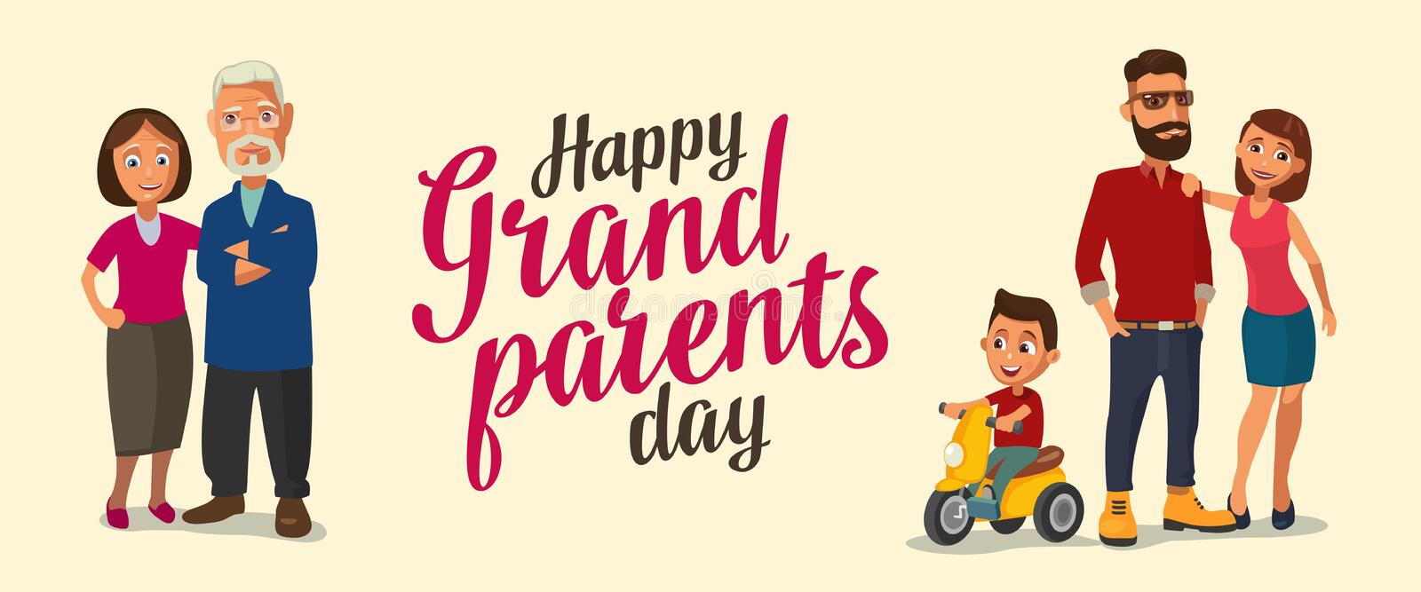 Happy family. Parents, grandparents and child on a tricycle. Color flat vector illustration on beige background. Hand drawn lettering stock illustration