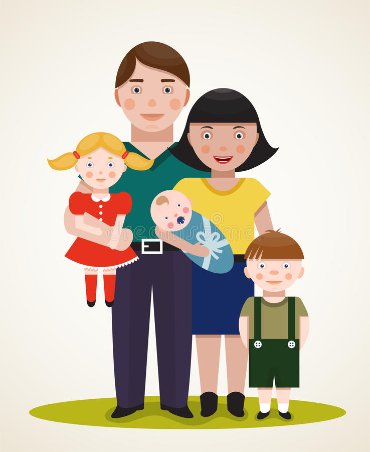 Happy Family Parents With Three Children Royalty Free Stock Photo