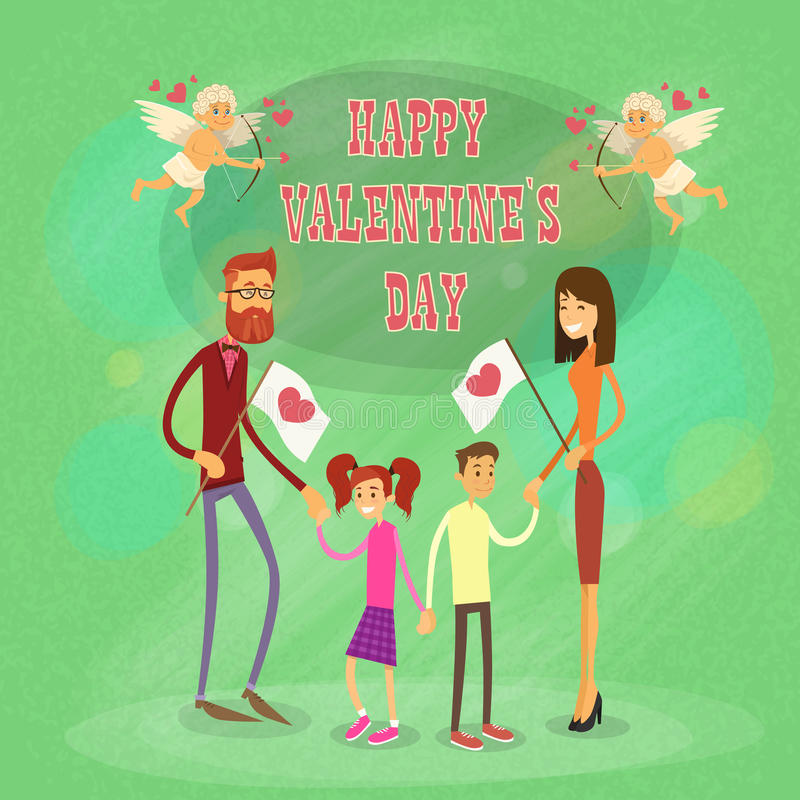 Happy Family, Parents With Two Children Holding Hands Saint Valentine Holiday. Vector Illustration stock illustration