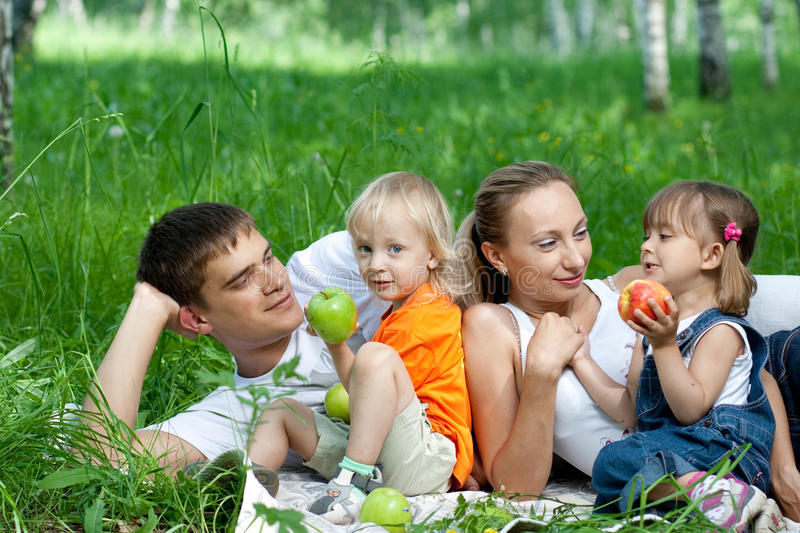 Download Happy family in park stock image. Image of trees, girl - 16135691