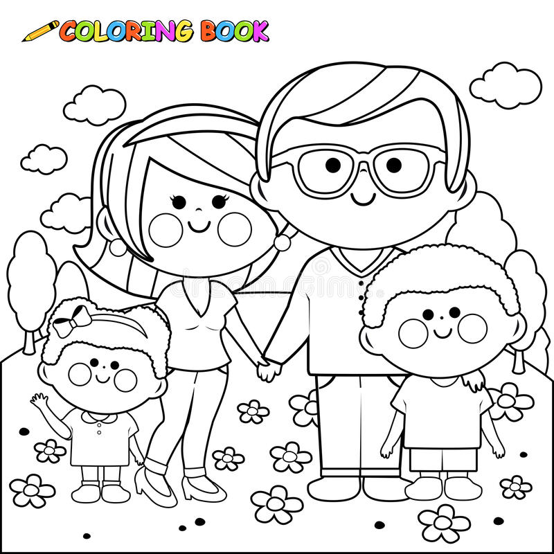 Happy family at the park coloring book page vector illustration