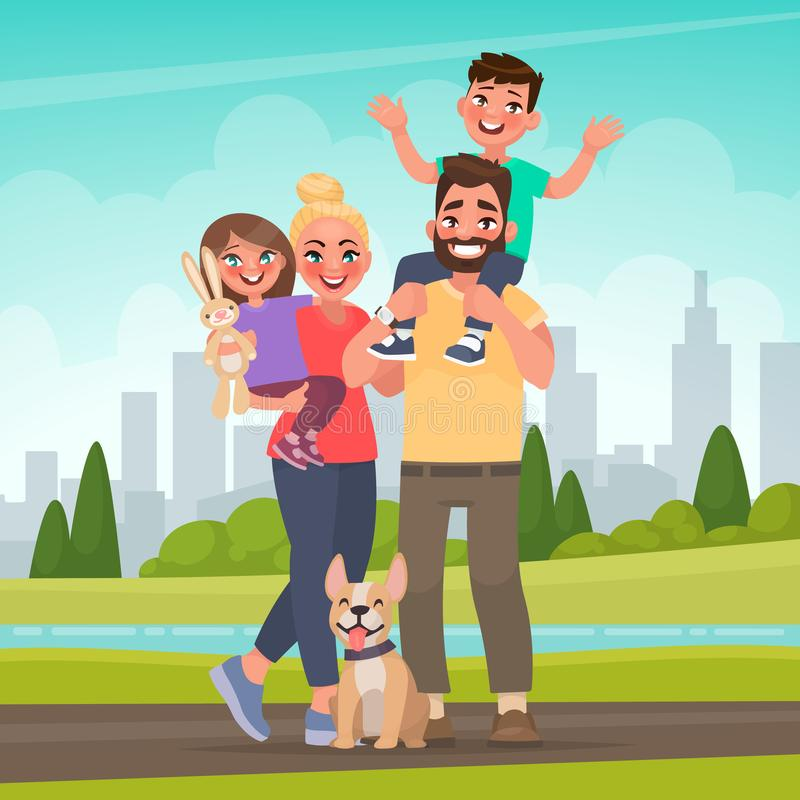 Happy family in the park. Father, mother, son and daughter together in nature. Vector illustration royalty free illustration